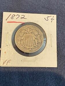 1872 SHIELD NICKEL COIN CIRCULATED VF SCARCE DATE no reserve