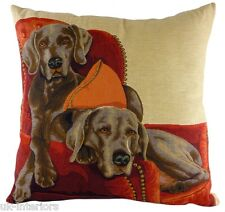 "18"" Lounging WEIMARANERS Dog Belgian Tapestry Cushion Evans Lichfield LC556"