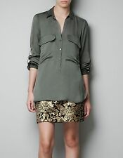 ZARA SHIRT WITH PATCH POCKETS $80 Satin Gray Olive Green Tunic Blouse Top S