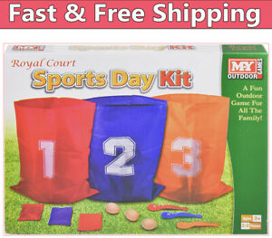 The Magic Toy Shop 3 in 1 Sports Day Kit Sack Race Egg and Spoon Race Set Bean