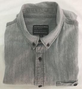 WOLVES COAL MINER Mens Shirt, Size L Artisans Iron Co, Grey Short Sleeve