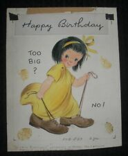 "BIRTHDAY Cute Girl w/ Giant Shoes 2pcs 6.5x8.5"" Greeting Card Art #534"