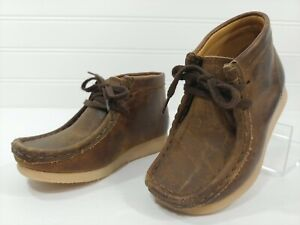 CLARKS Originals Brown Leather Chukka Ankle Boots Shoes Toddler KIDS Size 8Wide