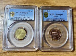 PCGS Promotional Slab Lot FRANCE Euro Cent 2009 & USA Shield Cent 2010 D SAMPLE