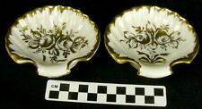 2 Porcelaines De Couleuvre Limoges France Decor Main Gold Shell Dishes (HH)