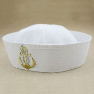 White Sailor Navy Hat Cap with Anchor for Fancy Dress