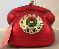 LARGE HAND BLOWN/PAINTED CHRISTMAS ROTARY PHONE RARE RETIRED DEPT 56 VINTAGE
