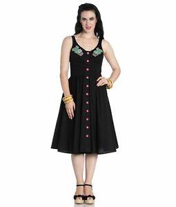 Hell Bunny Vintage 50s Pin Up Dress Black HATIORA Cactus XS UK 8