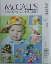 McCALLS Sewing PATTERN 6575 Infant Toddler Boys Girls Hats Floppy Hat Cap Shoes