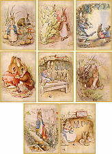 Vintage inspired Beatrix Potter bunnies cards tags ATC altered art set of 8