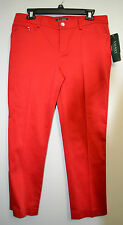 NWT Womens Lauren Ralph Lauren Red Slimming Fit Pants 10 Petite