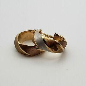 Italian 14kt Tricolor Gold Hoop Earrings Milor Approximately 2.3 Grams Women's