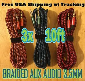 3x LOT 3.5mm 10ft BRAIDED 3M Quality AUXILIARY CORD Male to Male Audio Cable AUX