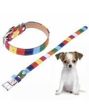 Fashion Dog Collar Adjustable Buckle Small Rainbow Colorful Pet Accesory