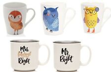 MUGS COFFEE TEA NOVELTY GIFT KITCHEN OWL DESIGN BONE CHINA MR RIGHT MRS RIGHT