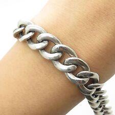 """Italy 925 Sterling Silve Wide Hollow Men's Cuban Link Bracelet 7"""""""
