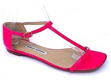MANOLO BLAHNIK  Neon Pink Patent Leather Thong T Strap Sandal Flat Sz 38