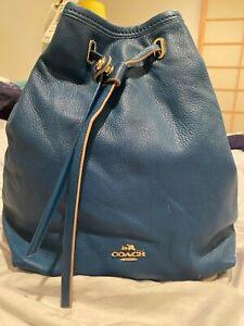 Coach Authentic Leather Turnlock Tie Bucket/Bag/Liden/Denim Unworn