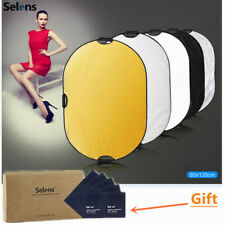 Selens 5-in-1 80x120cm 32x48 Inch Oval Reflector Disc w/ 3 Handle +Cleaning Wipe