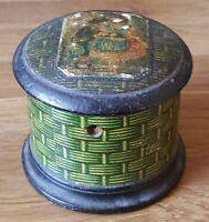 Wood treen vintage Victorian antique string box