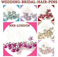 Bridal Wedding Prom Silver Crystal Diamante Rhinestone Hair Pins Clips Grips UK