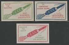1934 INDIA rocket mail stamps SAUGOR ISLAND flights - set of 3 - signed Smith