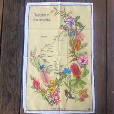 Vtg Western Australia Souvenir Kitchen Tea Towel Yellow Cotton Floral Birds Ross