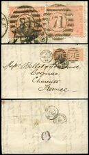 Gb Qv 1864 Double Rate 8d Cover 4d Garter.Sg81 Wing Margin Vertical Pair Fg Gg