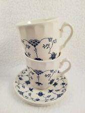 Churchill Georgian Finlandia 2 Saucers & 2 Cups/Mugs Blue/White Flowers
