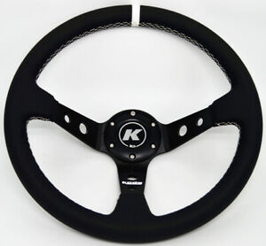 KODE-350mm Deep Dish Leather Steering Wheel White Stitch Fit 6x70mm PCD Boss Kit