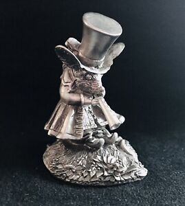 Solid Pewter Mouse Rat Top Hat Horn Highly Detailed Statue Silver Metal Figurine