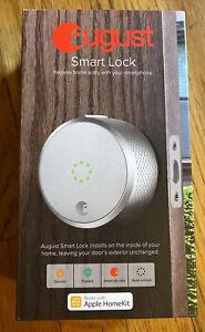 August Smart Lock Bluetooth Deadbolt Homekit - Silver - AUG-SL02-M02-S02