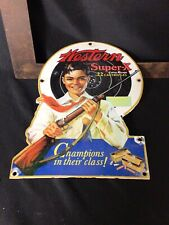 VINTAGE PORCELAIN WESTERN SUPER-X AMMO  ADVERTISING  SIGN