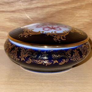 Limoges Castel Floral Design Trinket Boxes  - 22 K Gold - Cobalt & Gold Trim Vtg