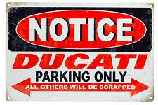 Style Vintage Métal Signe DUCATI Parking Only bar pub garage Wall Decor plaques