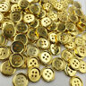 50/100 pcs Gold Plastic Buttons 15mm Sewing Craft 4 Holes PT190