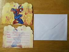 PACK OF 12 SPIDERMAN INVITATIONS INVITES KIDS SUPERHERO BIRTHDAY PARTY SUPPLIES