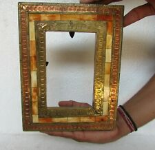 Old Handcrafted Wooden Brass Fitted Unique Shape Photo Picture Frame