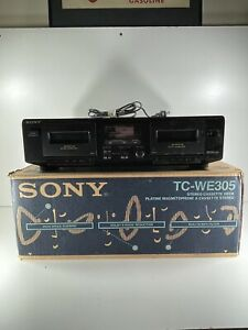 Sony Stereo Dual Cassette Deck Tape Player TC-WE305 Tested W/ Box