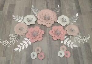 Flower Paper Set. Flowers Paper Wall Decor. Nursery Flowers Paper.
