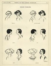 """RARE 1923 PUNCH Cartoon: HOLIDAY PROBLEMS - """"TO BOB OR NOT TO BOB"""" Women's Hair"""