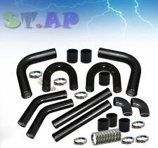 "Universal 2.5"" Aluminum Turbo Intercooler U-Piping Pipe Kits+Coupler+Clamp Black"