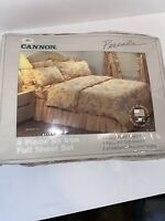 Vintage Cannon Percale 4 piece No Iron Full Sheet Set, Just Peachy, Made in USA