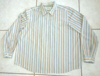 Orvis Mens Size XL Long Sleeve Button Up Beige Multi Colored Striped Shirt EUC