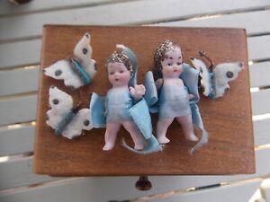 2 Miniature Porcelain Dolls 5.5 cm Vintage