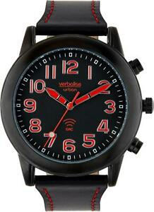 Verbalise Mens Talking Watch with Black Leather Pin and Tuck Strap VMRC-100LBK