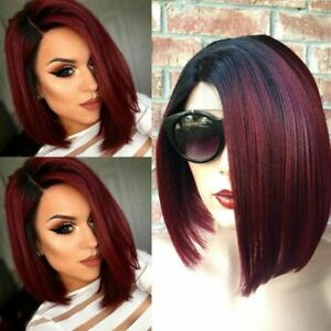 Short Straight Hair Wigs Full Wig Real Natural BOB Style Cosplay Women's Ladies
