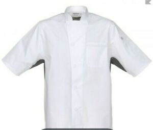 Chef Works Men's Valais V-Series Chef Coat, White W/Gray Contrast Large