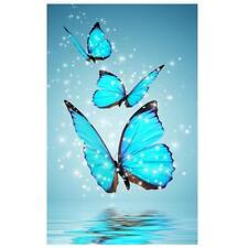 Blue Butterfly 5d Diamond DIY Painting Kit Cross Stitch Home Decor Craft Tn2f