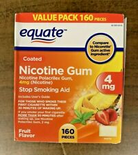 Equate Coated Nicotine Gum Fruit Flavor 4mg 160 Pcs Stop Smoking Aid EXP. 11/21